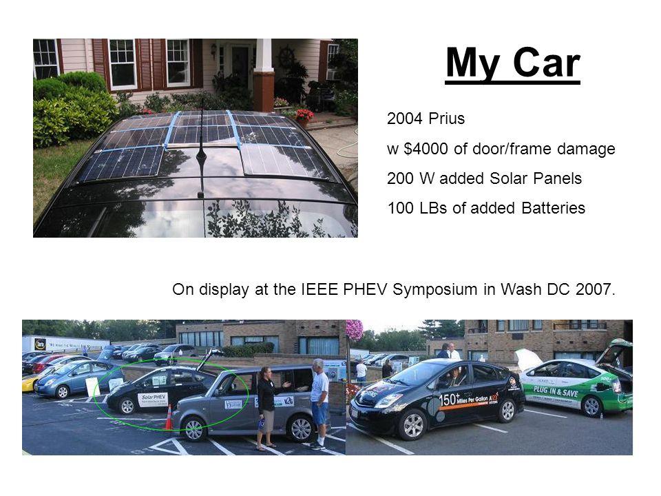 Solar PHEV & Battery Eighteen 12V batteries 9 Amp-Hours each 225 Volts 2025 Watt-Hours 200 Watts of Solar Panels 200 W-hrs per hour in Sun $2400 cost.