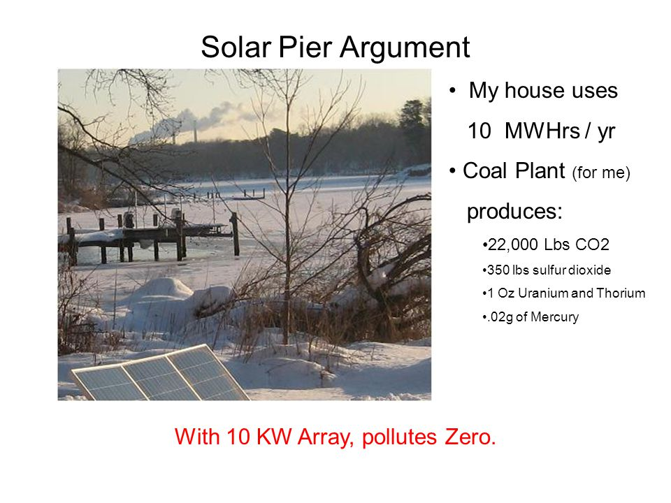 Solar Pier Argument My house uses 10 MWHrs / yr Coal Plant (for me) produces: 22,000 Lbs CO2 350 lbs sulfur dioxide 1 Oz Uranium and Thorium.02g of Mercury With 10 KW Array, pollutes Zero.