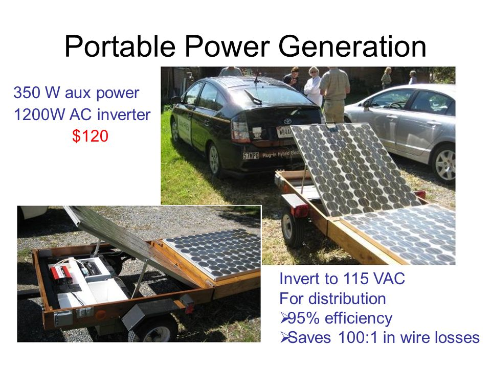 Portable Power Generation 350 W aux power 1200W AC inverter $120 Invert to 115 VAC For distribution  95% efficiency  Saves 100:1 in wire losses