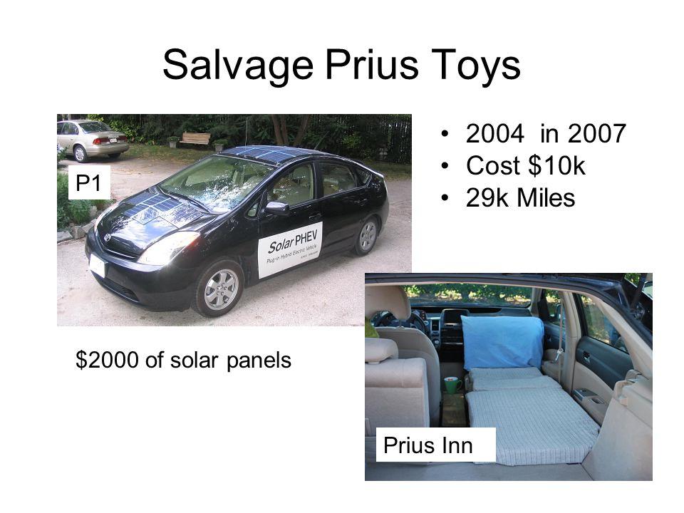 Salvage Prius Toys 2004 in 2007 Cost $10k 29k Miles P1 Prius Inn $2000 of solar panels
