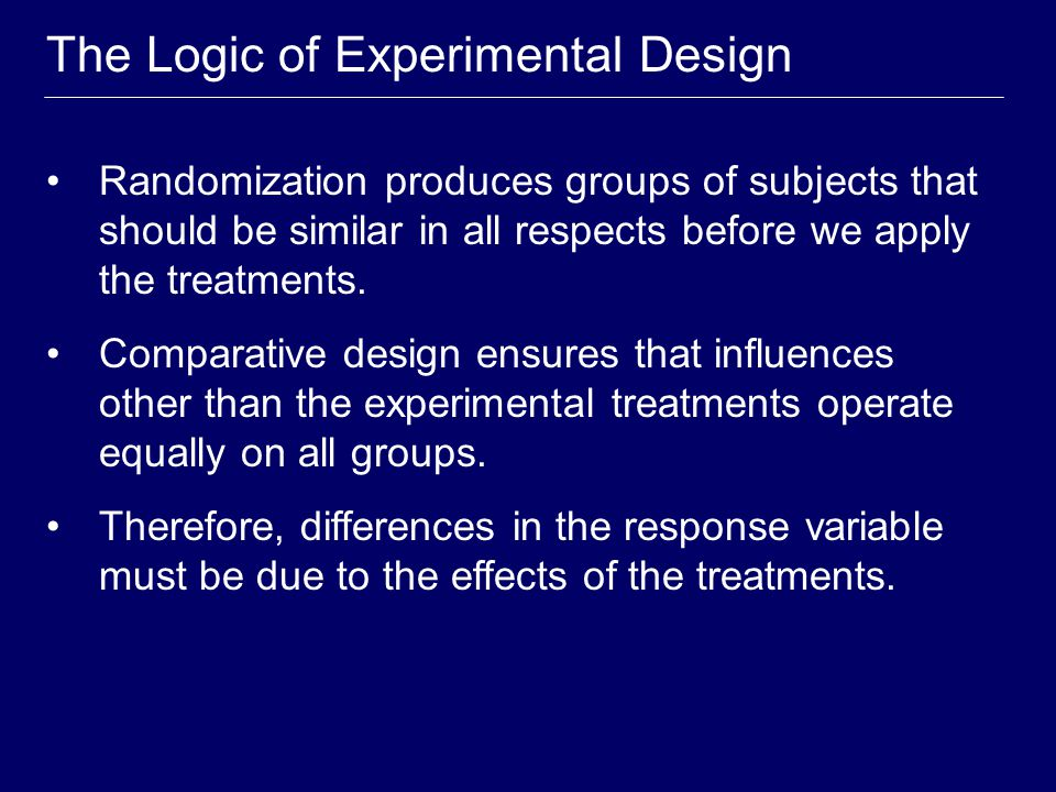 Randomized Comparative Experiment random allocation group 1 n 1 subjects group 2 n 2 subjects compare response treatment 1 treatment 2