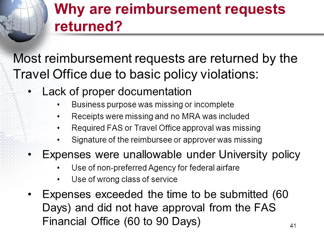 41 Why are reimbursement requests returned.