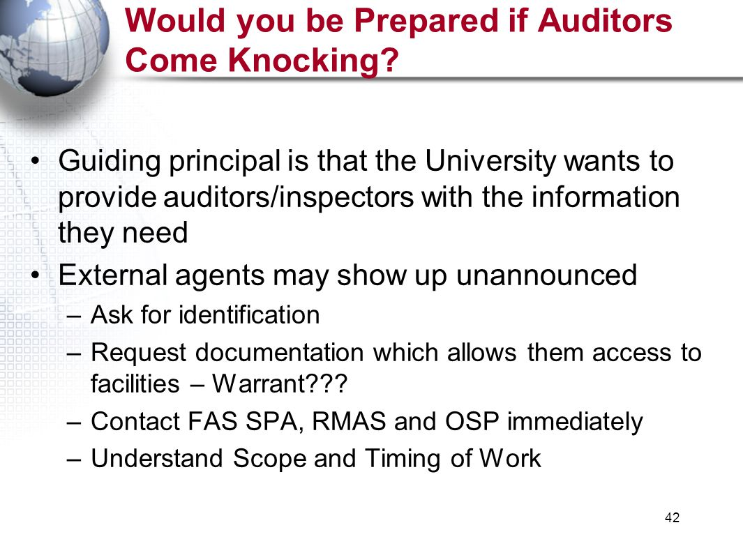 42 Would you be Prepared if Auditors Come Knocking.