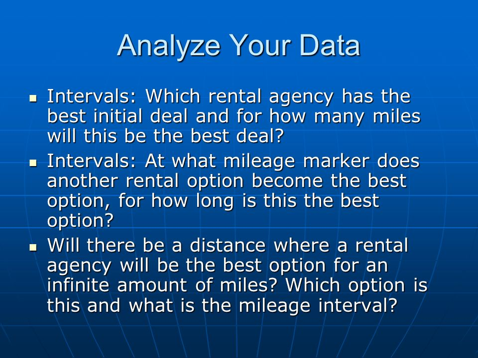 Analyze Your Data Intervals: Which rental agency has the best initial deal and for how many miles will this be the best deal? Intervals: Which rental