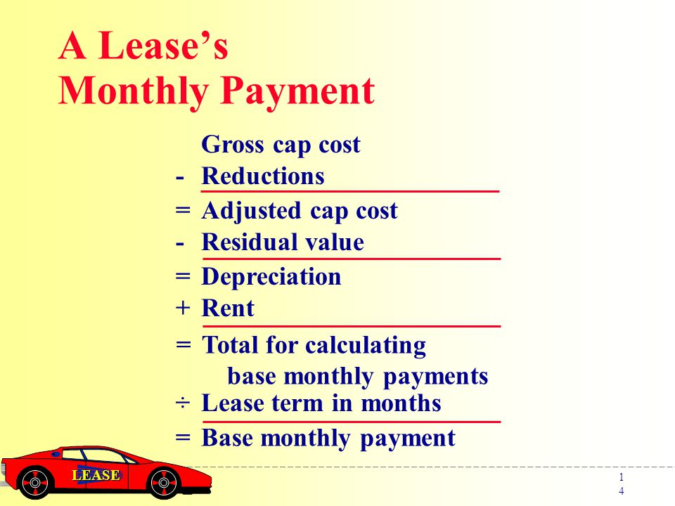 LEASE 1414 Gross cap cost -Reductions =Adjusted cap cost - Residual value =Depreciation + Rent A Lease's Monthly Payment =Total for calculating base monthly payments ÷Lease term in months =Base monthly payment