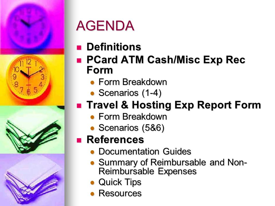 Definitions PCard ATM Cash Withdrawal/Miscellaneous Expenses Reconciliation Form (ATM/MER) PCard ATM Cash Withdrawal/Miscellaneous Expenses Reconciliation Form (ATM/MER) Used in 2 Conditions Used in 2 Conditions 1.