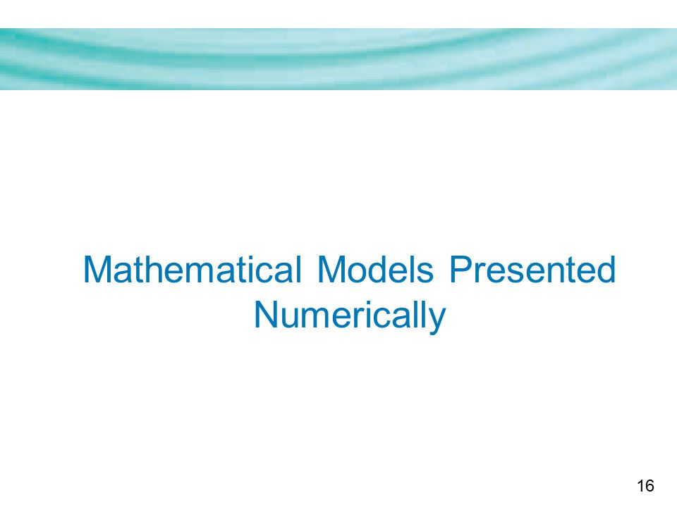16 Mathematical Models Presented Numerically
