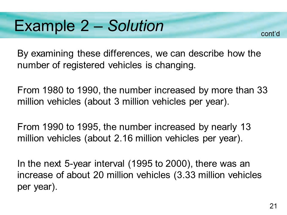 21 Example 2 – Solution By examining these differences, we can describe how the number of registered vehicles is changing.