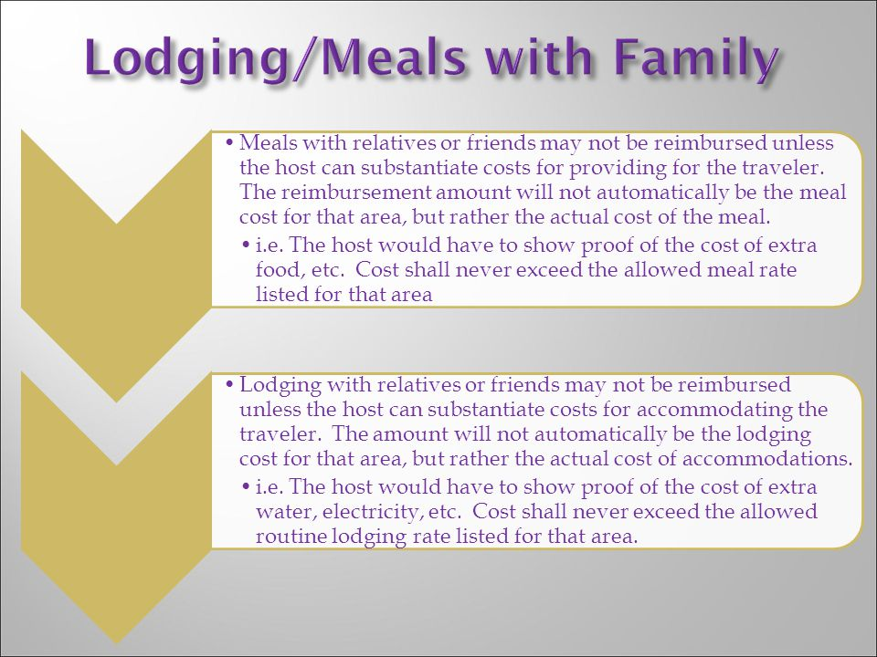 Meals with relatives or friends may not be reimbursed unless the host can substantiate costs for providing for the traveler. The reimbursement amount