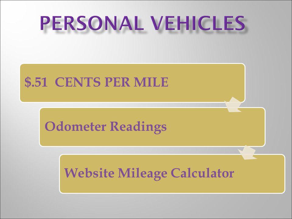 $.51 CENTS PER MILEOdometer ReadingsWebsite Mileage Calculator