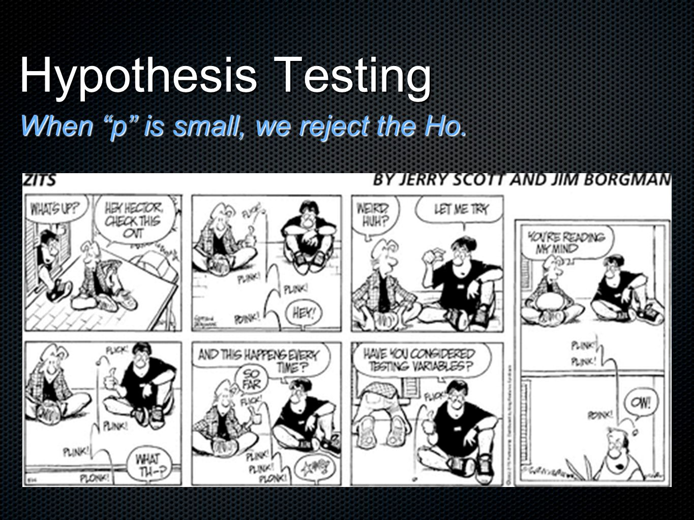 """Hypothesis Testing When """"p"""" is small, we reject the Ho."""
