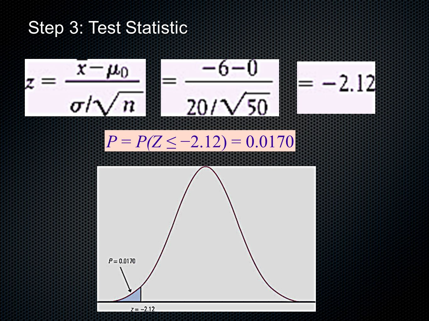 Step 3: Test Statistic P = P(Z ≤ −2.12) = 0.0170