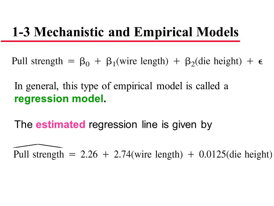 1-3 Mechanistic and Empirical Models In general, this type of empirical model is called a regression model. The estimated regression line is given by