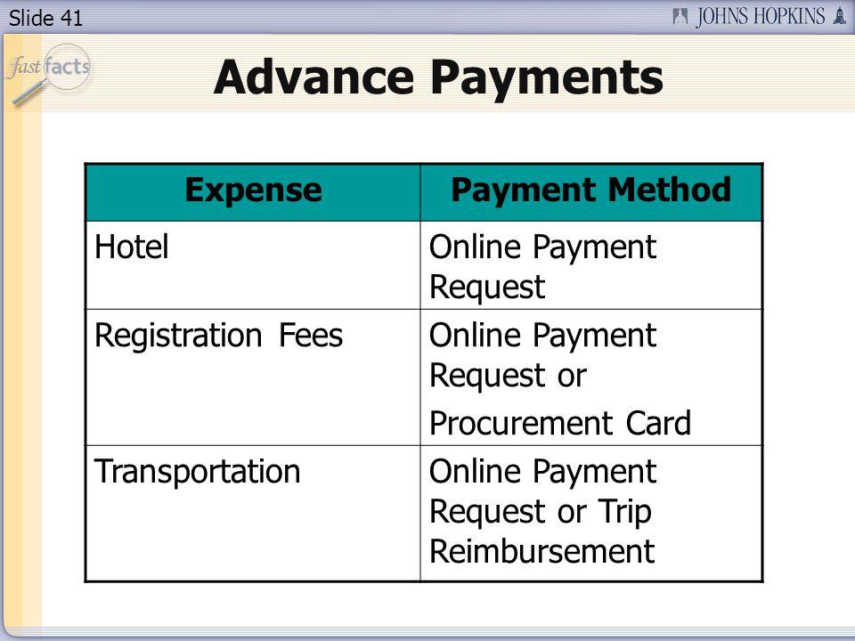 Slide 41 Advance Payments ExpensePayment Method HotelOnline Payment Request Registration FeesOnline Payment Request or Procurement Card Transportation