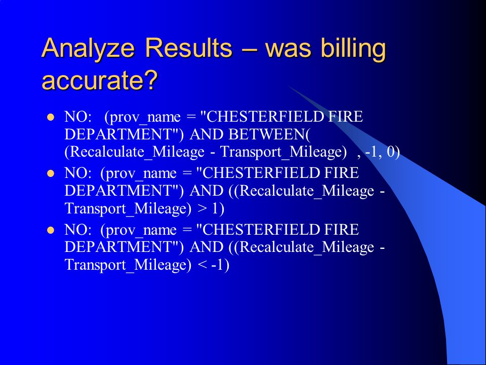 Analyze Results – was billing accurate.