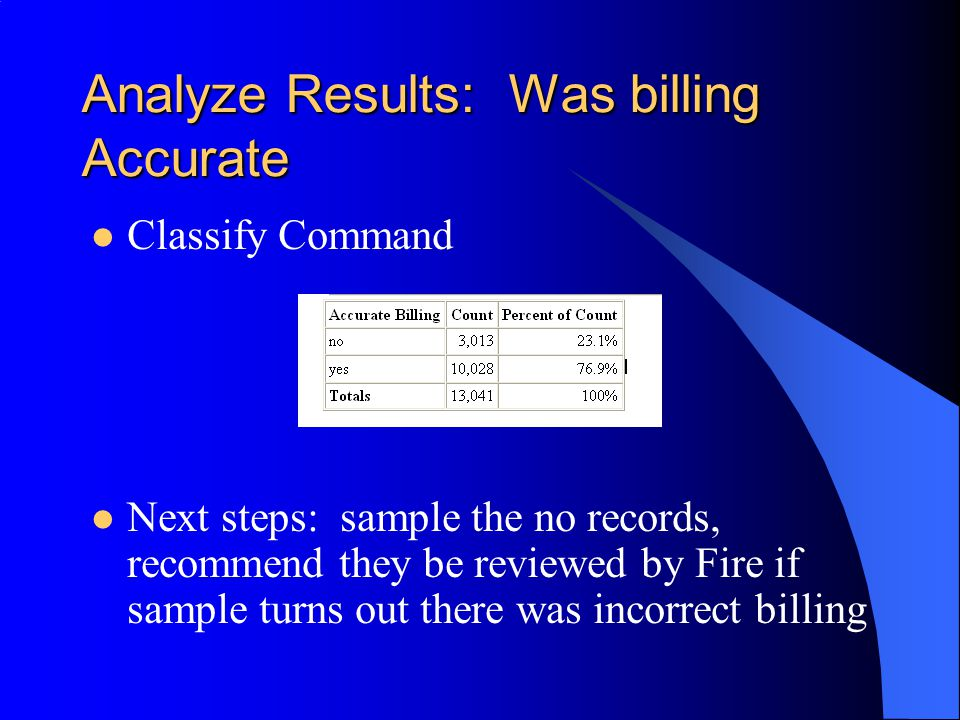 Analyze Results: Was billing Accurate Classify Command Next steps: sample the no records, recommend they be reviewed by Fire if sample turns out there was incorrect billing