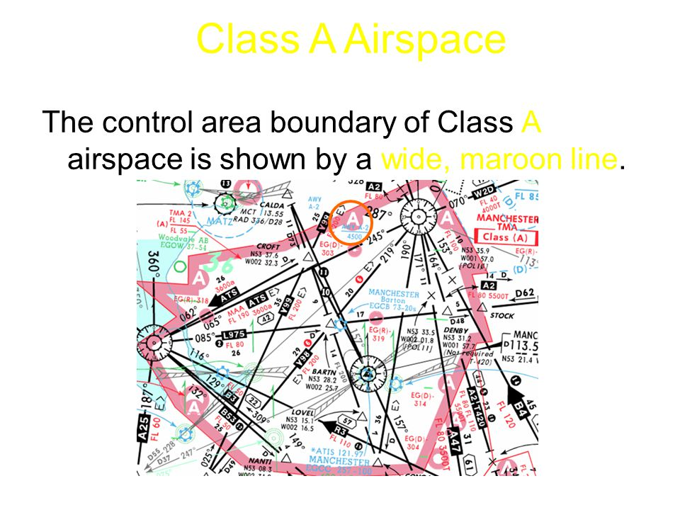 The control area boundary of Class A airspace is shown by a wide, maroon line. Class A Airspace