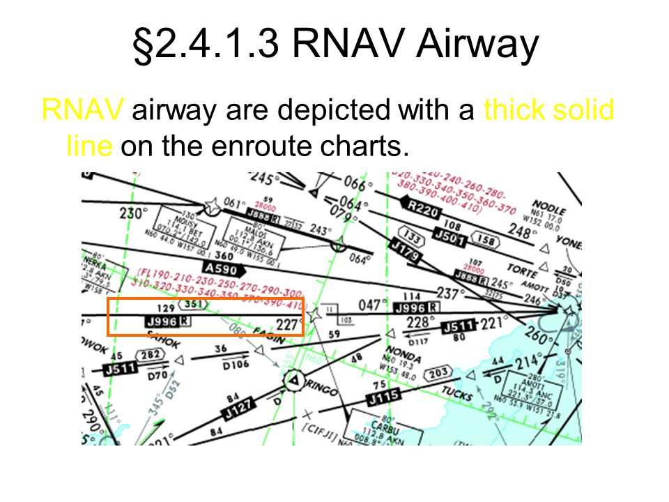 §2.4.1.3 RNAV Airway RNAV airway are depicted with a thick solid line on the enroute charts.