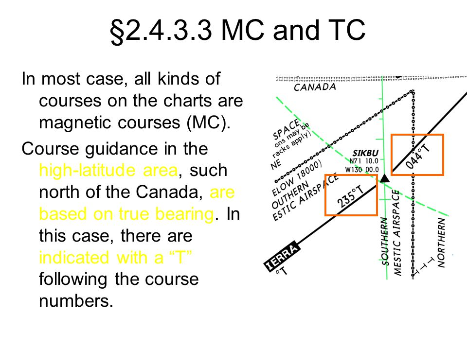 §2.4.3.3 MC and TC In most case, all kinds of courses on the charts are magnetic courses (MC). Course guidance in the high-latitude area, such north o