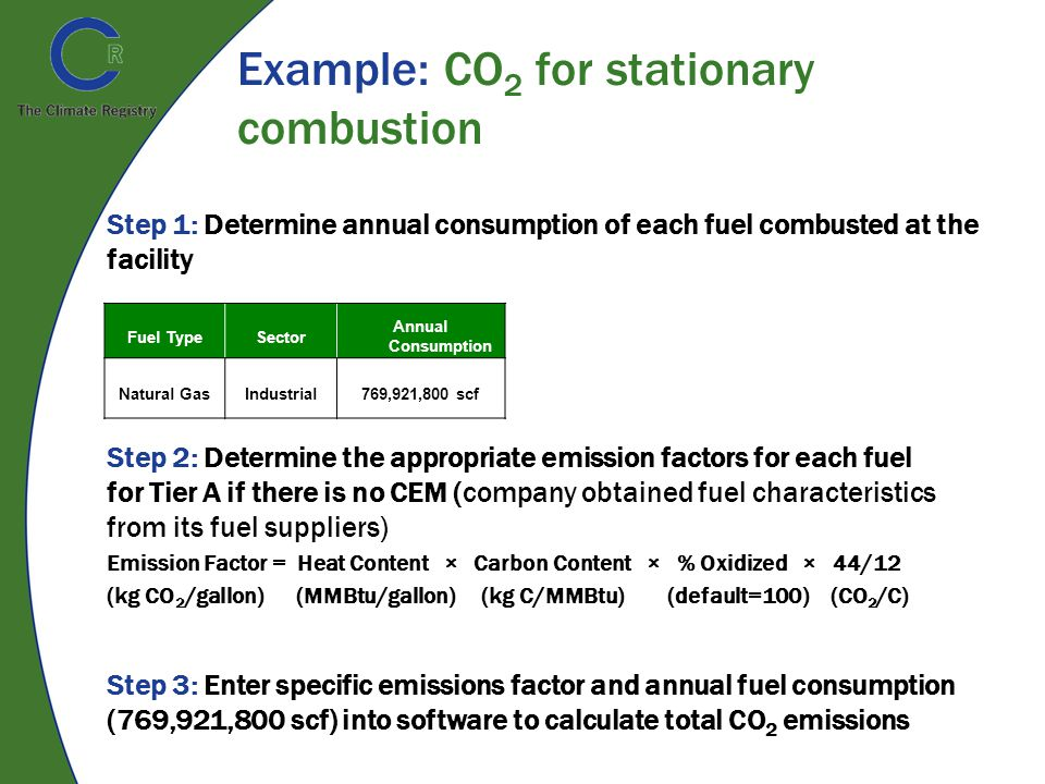 Example: CO 2 for stationary combustion Fuel TypeSector Annual Consumption Natural GasIndustrial769,921,800 scf Step 1: Determine annual consumption of each fuel combusted at the facility Step 2: Determine the appropriate emission factors for each fuel for Tier A if there is no CEM (company obtained fuel characteristics from its fuel suppliers) Emission Factor = Heat Content × Carbon Content × % Oxidized × 44/12 (kg CO 2 /gallon) (MMBtu/gallon) (kg C/MMBtu) (default=100) (CO 2 /C) Step 3: Enter specific emissions factor and annual fuel consumption (769,921,800 scf) into software to calculate total CO 2 emissions