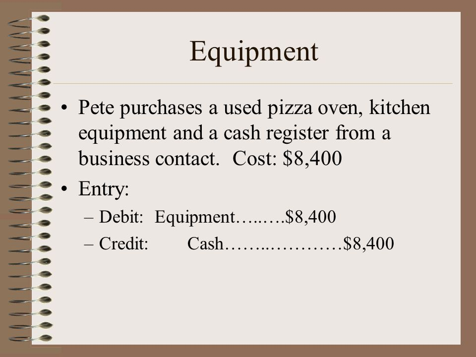 Equipment Pete purchases a used pizza oven, kitchen equipment and a cash register from a business contact. Cost: $8,400 Entry: –Debit: Equipment…..….$