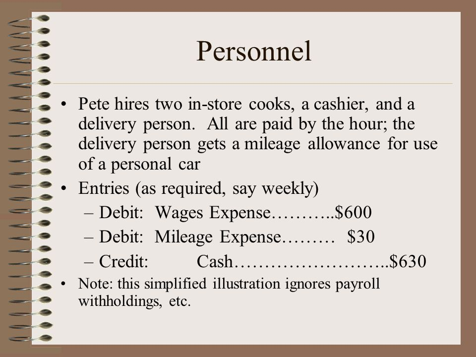 Personnel Pete hires two in-store cooks, a cashier, and a delivery person. All are paid by the hour; the delivery person gets a mileage allowance for