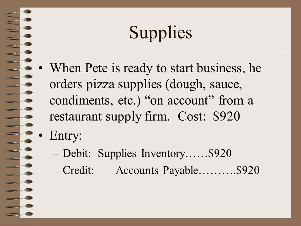 """Supplies When Pete is ready to start business, he orders pizza supplies (dough, sauce, condiments, etc.) """"on account"""" from a restaurant supply firm. C"""