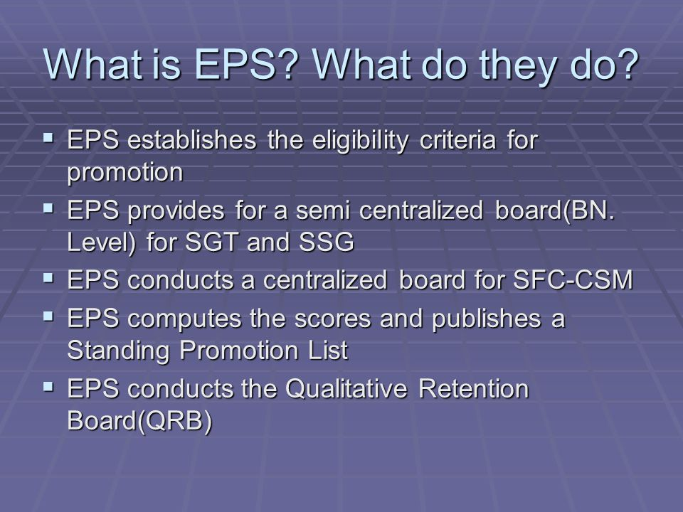 What is EPS.What do they do.