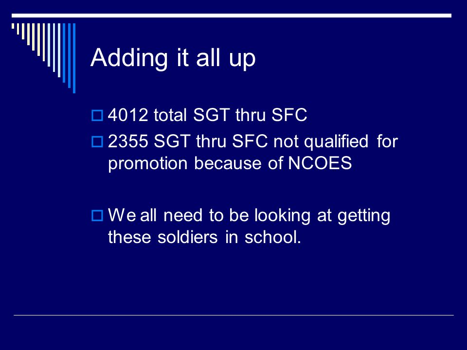 SFC's 638 total SFC's in the TNARNG 638 total SFC's in the TNARNG 346 NCOES Qualified( includes 2 NCOES qualified due to DOR prior to 1 Oct 1992) 346