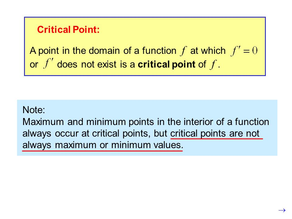 Critical Point: A point in the domain of a function f at which or does not exist is a critical point of f.