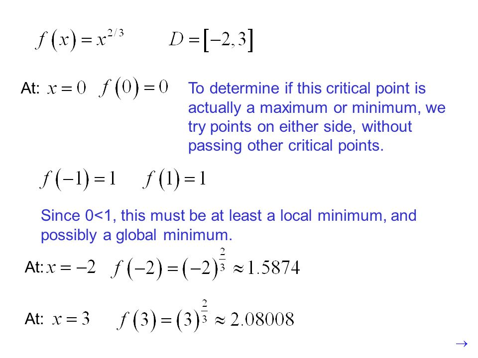 To determine if this critical point is actually a maximum or minimum, we try points on either side, without passing other critical points.
