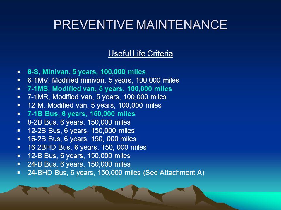 PREVENTIVE MAINTENANCE Useful Life Criteria  6-S, Minivan, 5 years, 100,000 miles  6-1MV, Modified minivan, 5 years, 100,000 miles  7-1MS, Modified van, 5 years, 100,000 miles  7-1MR, Modified van, 5 years, 100,000 miles  12-M, Modified van, 5 years, 100,000 miles  7-1B Bus, 6 years, 150,000 miles  8-2B Bus, 6 years, 150,000 miles  12-2B Bus, 6 years, 150,000 miles  16-2B Bus, 6 years, 150, 000 miles  16-2BHD Bus, 6 years, 150, 000 miles  12-B Bus, 6 years, 150,000 miles  24-B Bus, 6 years, 150,000 miles  24-BHD Bus, 6 years, 150,000 miles (See Attachment A)