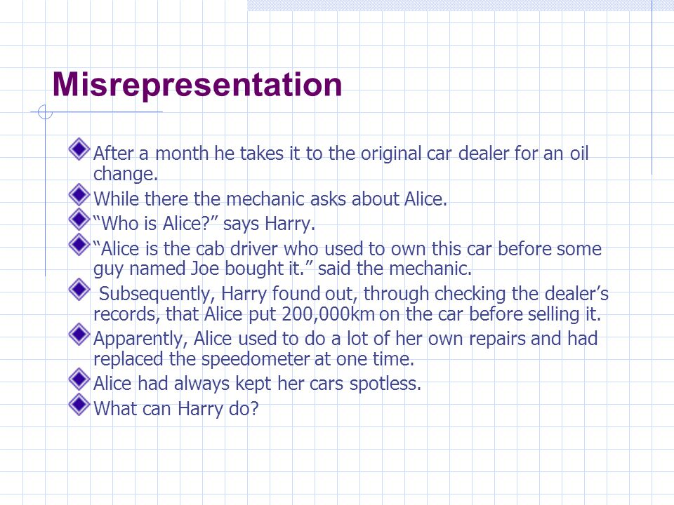 Misrepresentation Since the mileage on the car was not a term of the contract, there was no term of the contract that was violated.