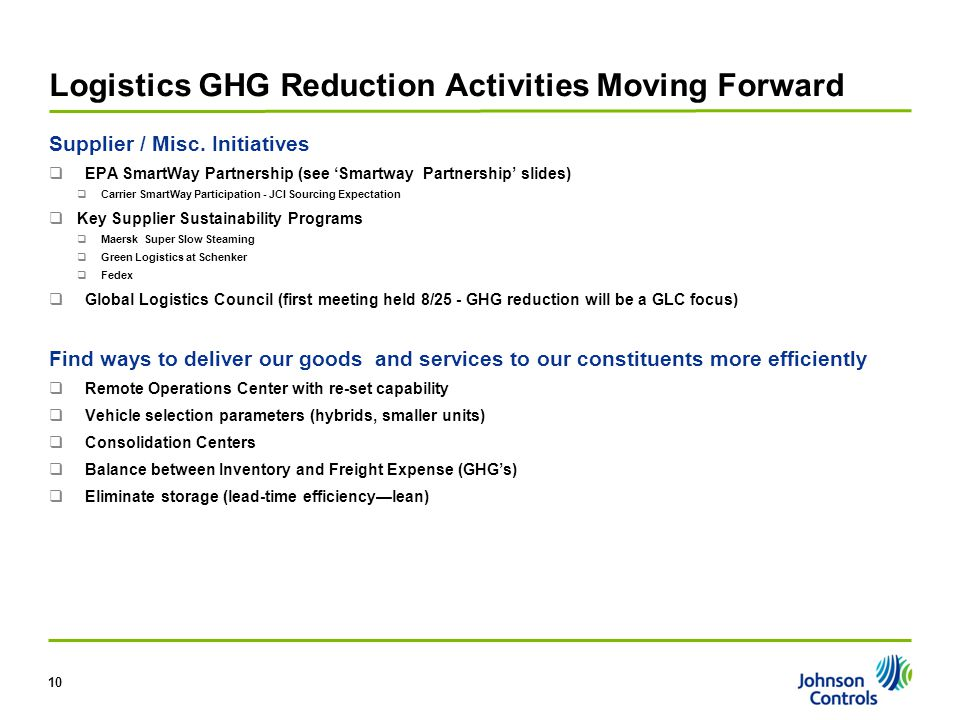 Logistics GHG Reduction Activities Moving Forward Supplier / Misc. Initiatives  EPA SmartWay Partnership (see 'Smartway Partnership' slides)  Carrie
