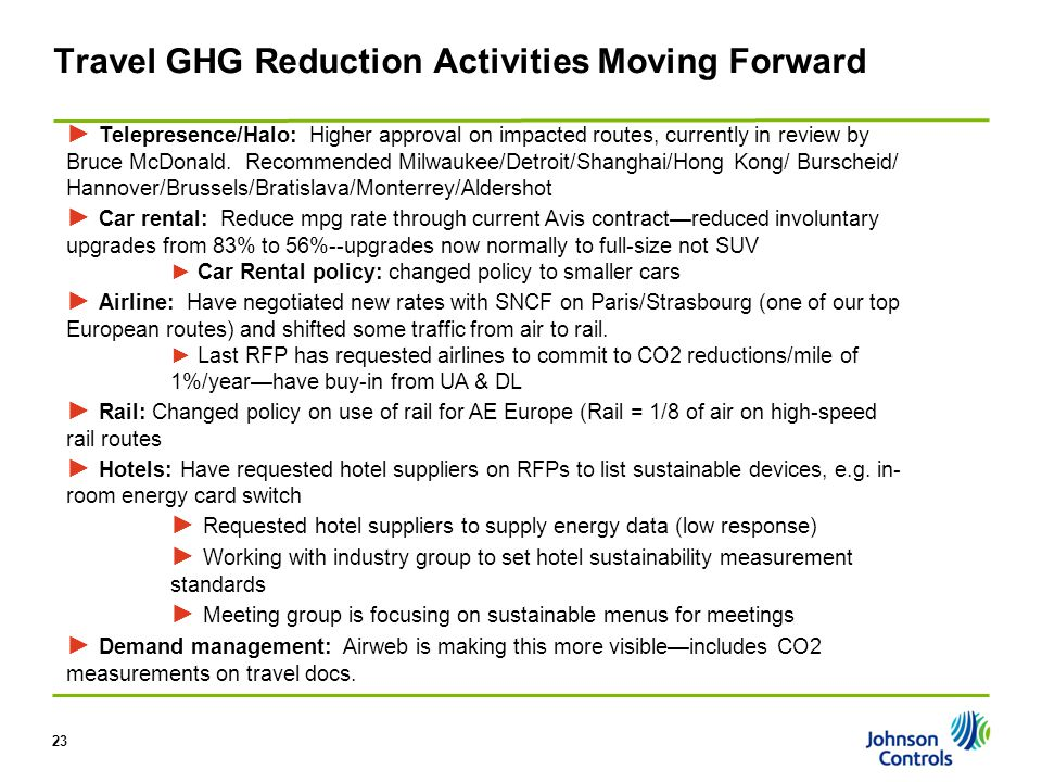 Travel GHG Reduction Activities Moving Forward 23 ► Telepresence/Halo: Higher approval on impacted routes, currently in review by Bruce McDonald.