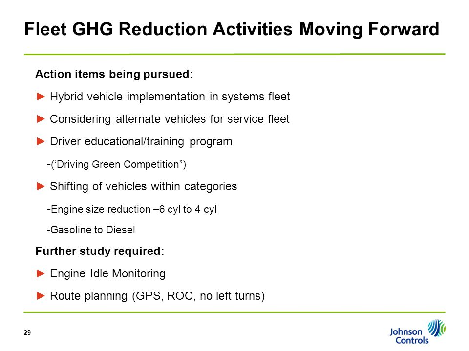29 Fleet GHG Reduction Activities Moving Forward Action items being pursued: ► Hybrid vehicle implementation in systems fleet ► Considering alternate