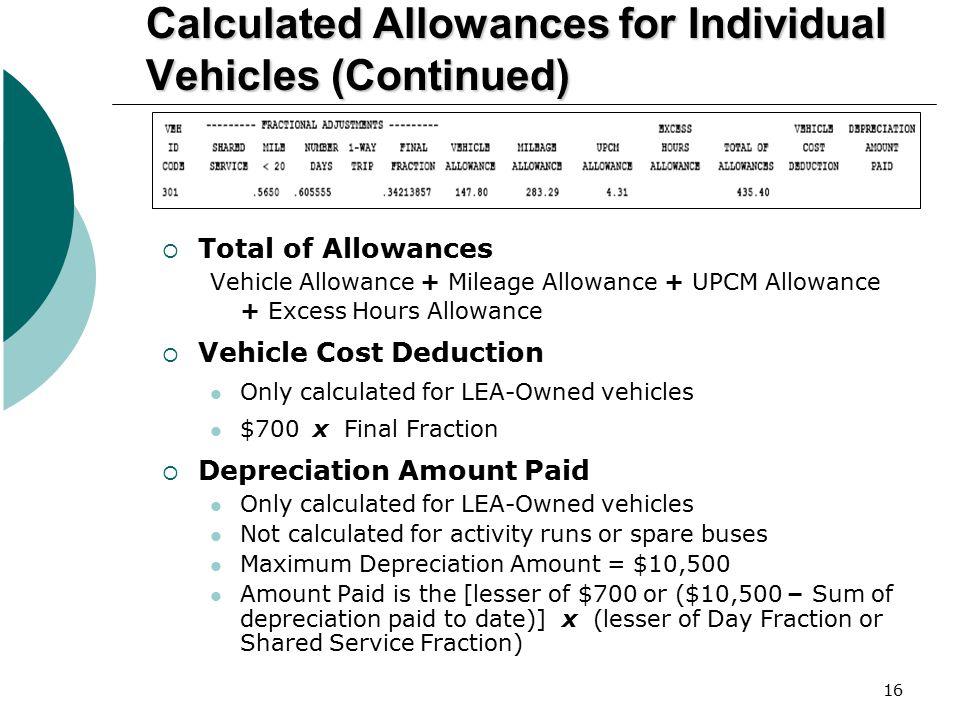16 Calculated Allowances for Individual Vehicles (Continued)  Total of Allowances Vehicle Allowance + Mileage Allowance + UPCM Allowance + Excess Hou