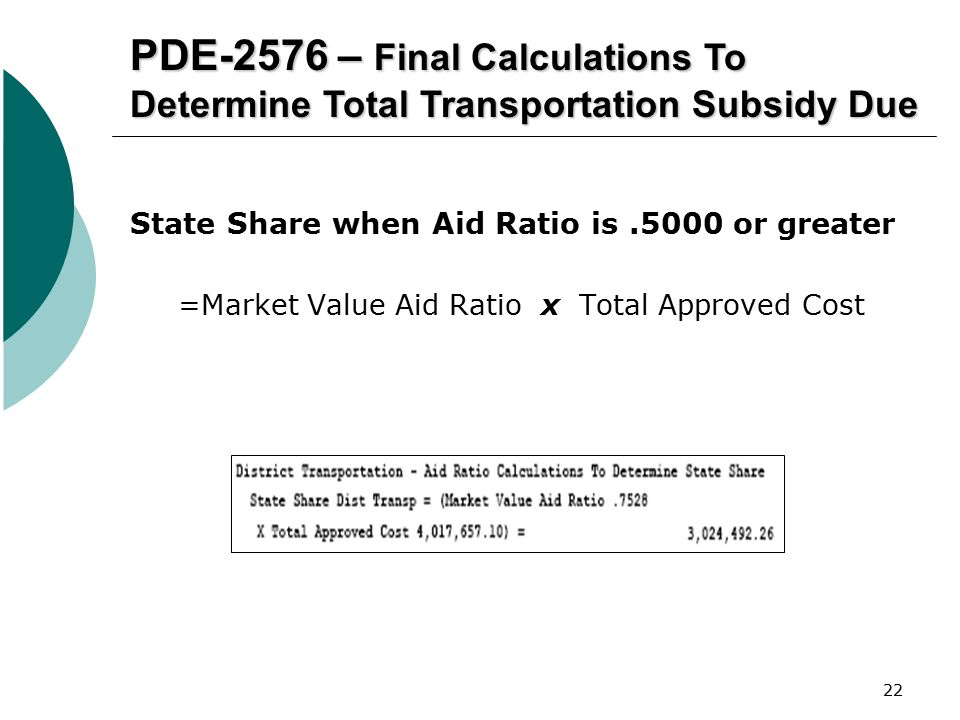 22 PDE-2576 – Final Calculations To Determine Total Transportation Subsidy Due State Share when Aid Ratio is.5000 or greater =Market Value Aid Ratio x