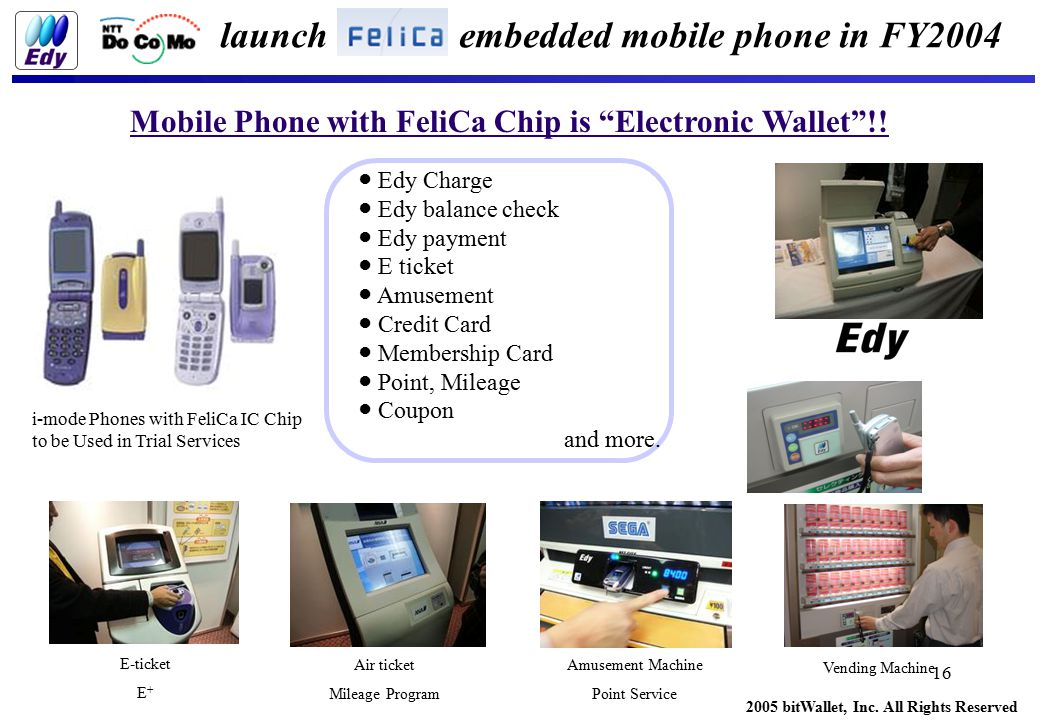 2005 bitWallet, Inc. All Rights Reserved 16 Mobile Phone with FeliCa Chip is Electronic Wallet !.