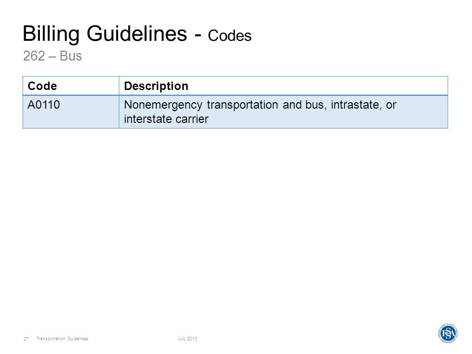 Transportation GuidelinesJuly 2013 27 262 – Bus Billing Guidelines - Codes CodeDescription A0110Nonemergency transportation and bus, intrastate, or interstate carrier