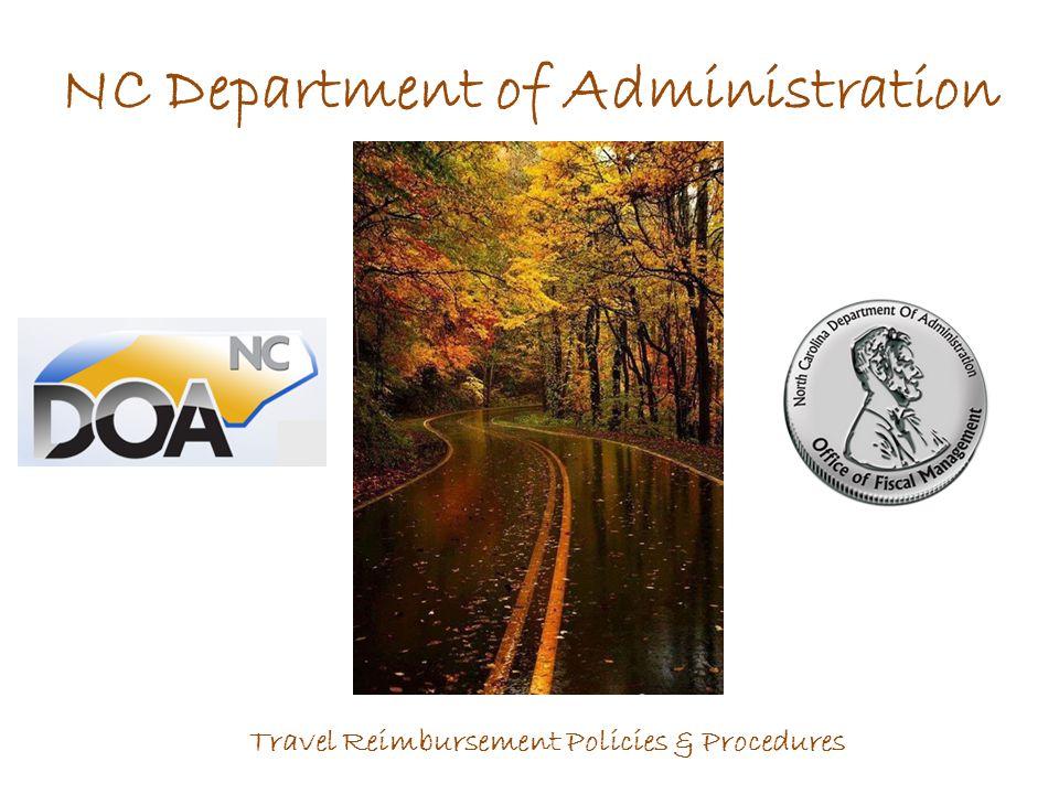NC Department of Administration Travel Reimbursement Policies & Procedures