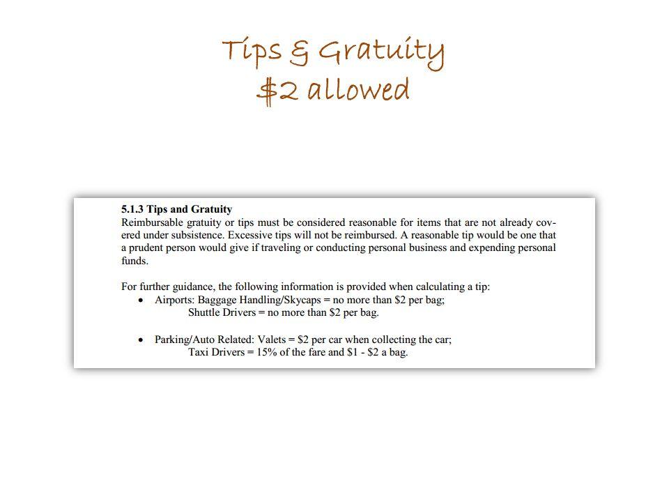 Tips & Gratuity $2 allowed