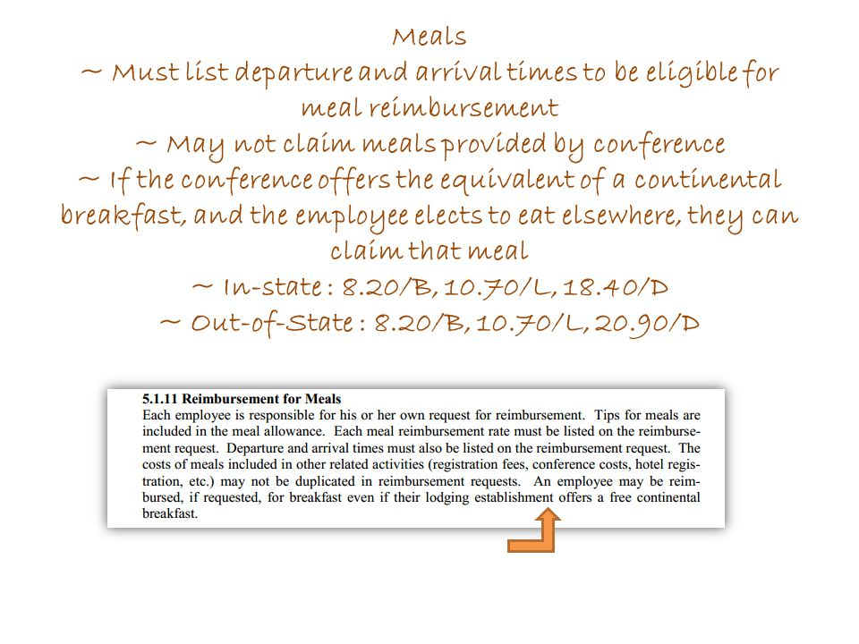 Meals ~ Must list departure and arrival times to be eligible for meal reimbursement ~ May not claim meals provided by conference ~ If the conference o