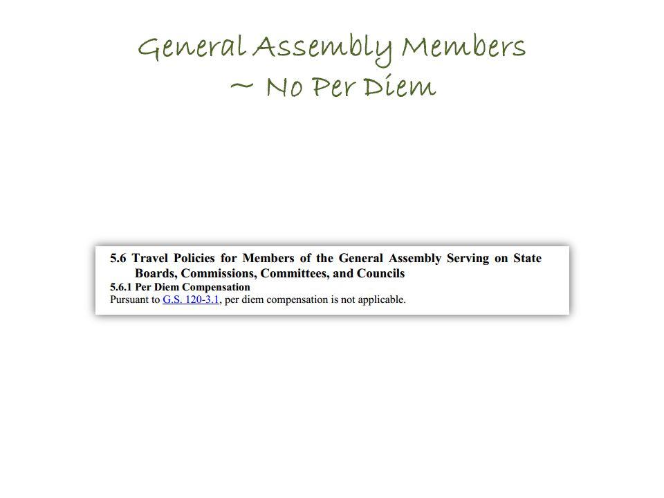 General Assembly Members ~ No Per Diem