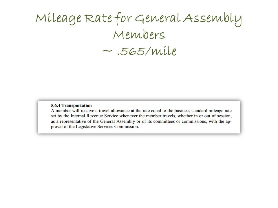 Mileage Rate for General Assembly Members ~.565/mile