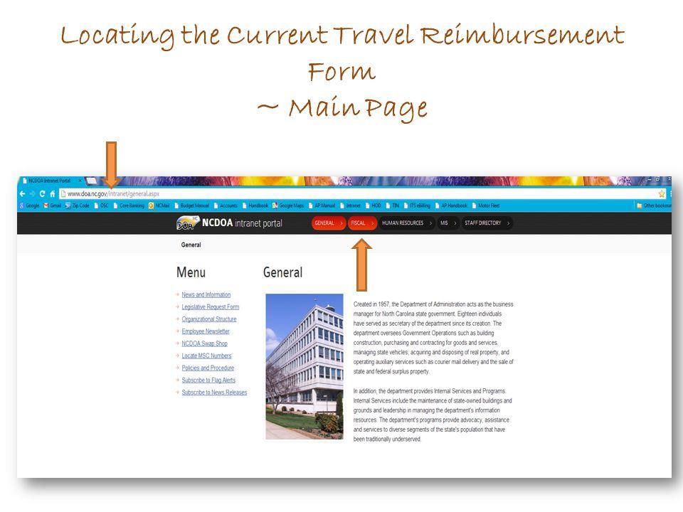 Locating the Current Travel Reimbursement Form ~ Main Page