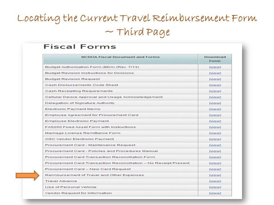 Locating the Current Travel Reimbursement Form ~ Third Page