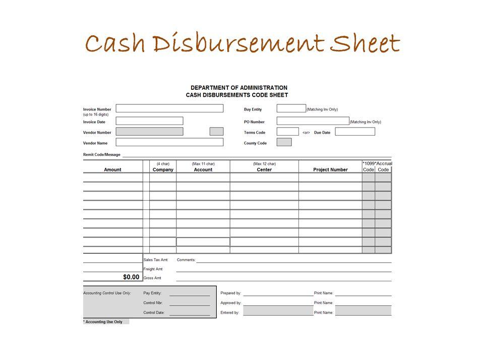 Cash Disbursement Sheet
