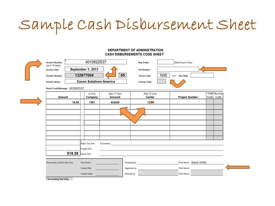 Sample Cash Disbursement Sheet