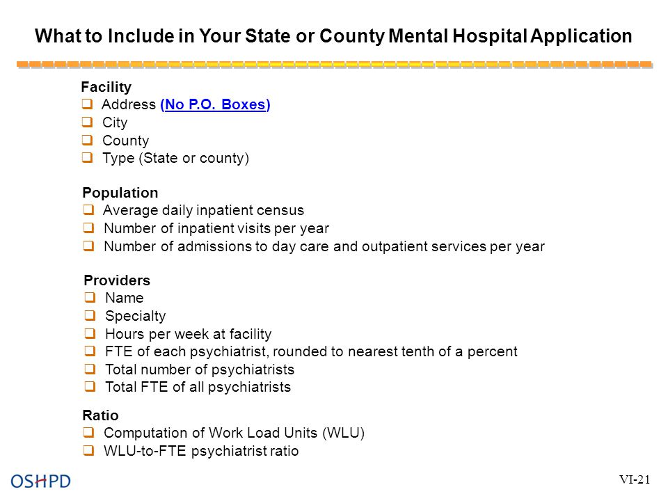 What to Include in Your State or County Mental Hospital Application Facility  Address (No P.O.